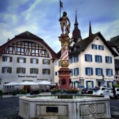 The Thut fountain near Zofingen's city hall