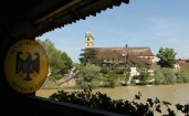 From the wooden bridge - Bad Saeckingen - the border between Germany and Switzerland ...