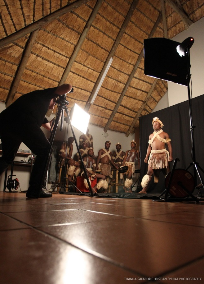 Johan Falkman taking portraits of Zulu dancers at the Intibane photo studio