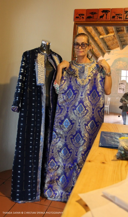Camilla Thulin showing her beautiful creation - 'Zulu Queen' gown and robe